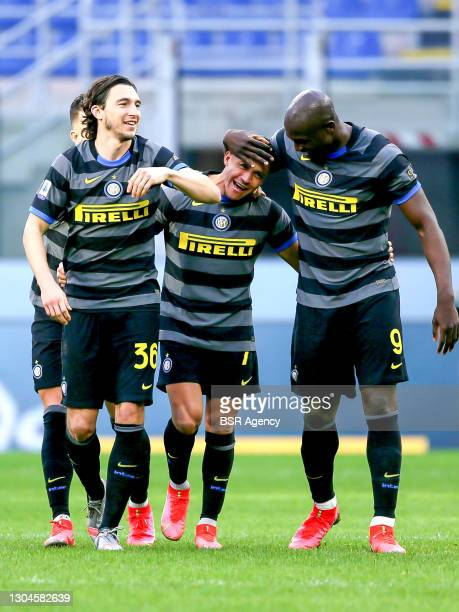 Matteo Darmian of Internazionale, Alexis Sanchez of Internazionale, Romelu Lukaku of Internazionale during the Serie A match between Internazionale...