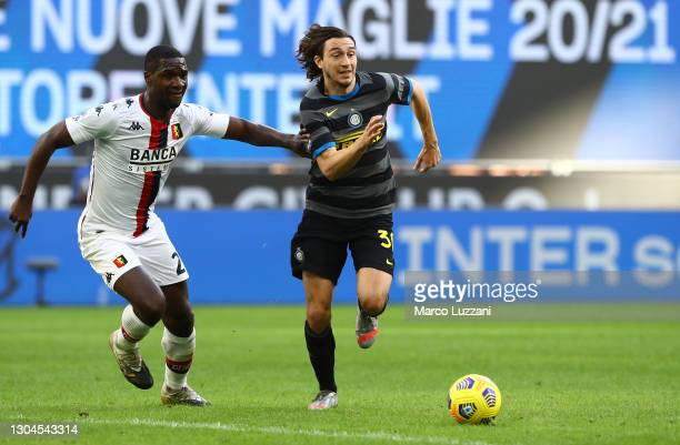 Matteo Darmian of Internazionale battles for possession with Cristián Zapata of Genoa during the Serie A match between FC Internazionale and Genoa...