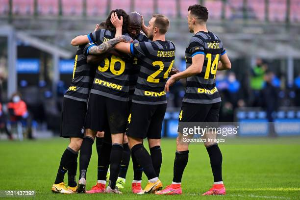 Matteo Darmian of Internazionale celebrates 2-0 with Romelu Lukaku of Internazionale, Christian Eriksen of Internazionale, Ivan Perisic of...