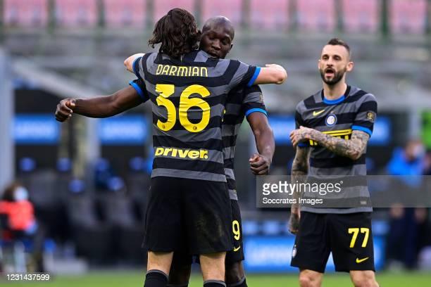 Matteo Darmian of Internazionale celebrates 2-0 with Romelu Lukaku of Internazionale during the Italian Serie A match between Internazionale v Genoa...