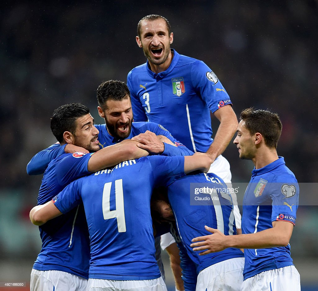Matteo Darmian of Italy #4 celebrates after scoring the third goal during the UEFA Euro 2016 qualifying football match between Azerbaijan and Italy at Olympic Stadium on October 10, 2015 in Baku, Azerbaijan.
