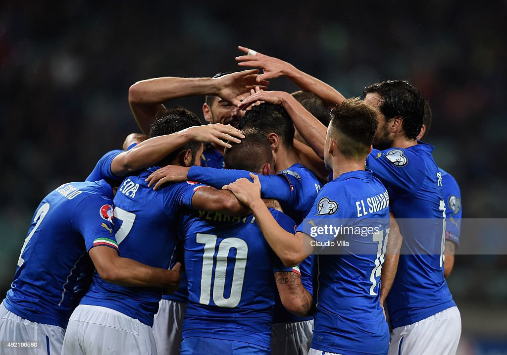 Matteo Darmian of Italy (C) celebrates after scoring the third goal during the UEFA Euro 2016 qualifying football match between Azerbaijan and Italy at Olympic Stadium on October 10, 2015 in Baku, Azerbaijan.
