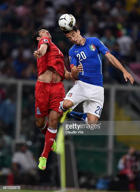 Matteo Darmian of Italy in action during the EURO 2016 Group H Qualifier match between Italy and Azerbaijan at Stadio Renzo Barbera on October 10,...