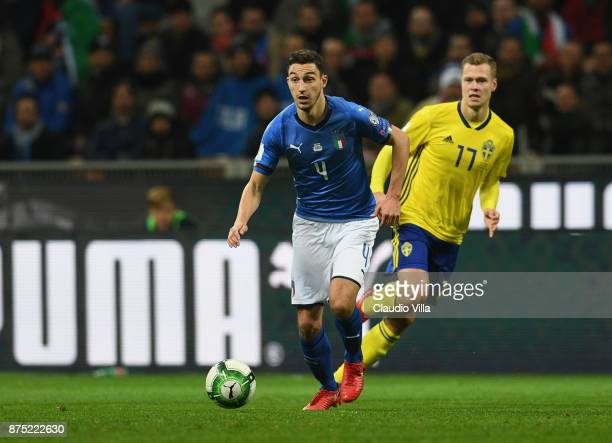 Matteo Darmian of Italy in action during the FIFA 2018 World Cup Qualifier PlayOff Second Leg between Italy and Sweden at San Siro Stadium on...