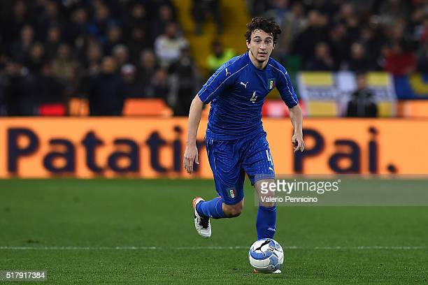 Matteo Darmian of Italy in action during the international friendly match between Italy and Spain at Stadio Friuli on March 24 2016 in Udine Italy