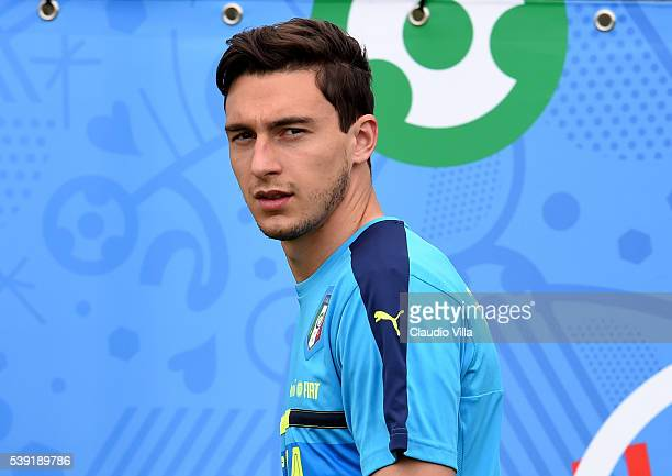 Matteo Darmian of Italy looks on during the training session at 'Bernard Gasset' Training Center on June 10 2016 in Montpellier France
