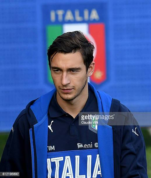 Matteo Darmian of Italy looks on prior to the training session at the club's training ground at Coverciano on October 3 2016 in Florence Italy