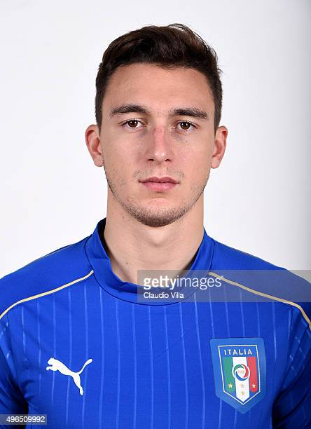 Matteo Darmian of Italy poses during the official portrait session at Coverciano on November 10 2015 in Florence Italy