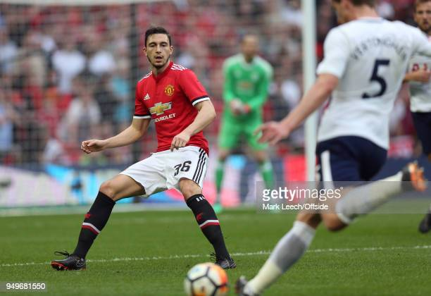 Matteo Darmian of Man Utd during the FA Cup semi final between Manchester United and Tottenham Hotspur at Wembley Stadium on April 21 2018 in London...