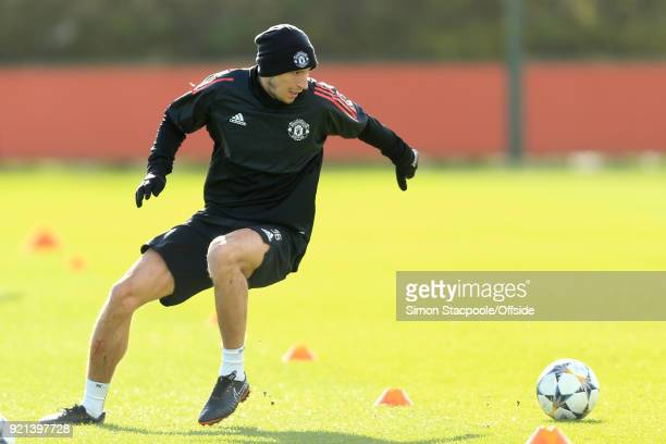 Matteo Darmian of Man Utd in action during a training session ahead of their UEFA Champions League match against Sevilla at the Aon Training Complex...