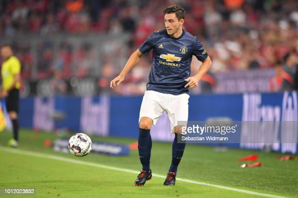 Matteo Darmian of Manchester plays the ball during the friendly match between Bayern Muenchen and Manchester United at Allianz Arena on August 5 2018...