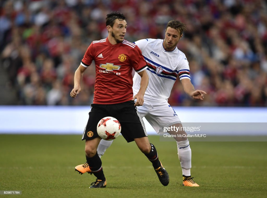 Matteo Darmian of Manchester United and Jacoo Sala of Sampdoria during the Aon Tour pre season friendly game between Manchester United and Sampdoria at Aviva Stadium on August 2, 2017 in Dublin, Ireland.