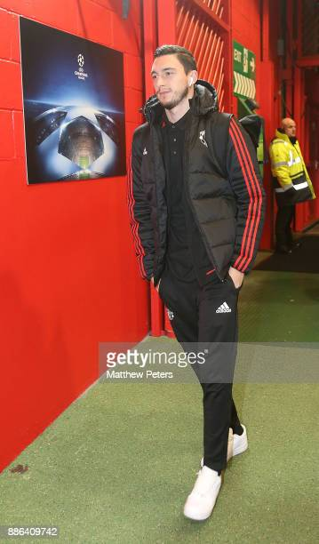 Matteo Darmian of Manchester United arrives ahead of the UEFA Champions League group A match between Manchester United and CSKA Moskva at Old...