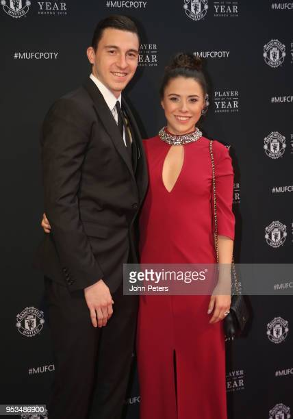Matteo Darmian of Manchester United arrives with his partner at Old Trafford ahead of the club's annual Player of the Year awards at Old Trafford on...