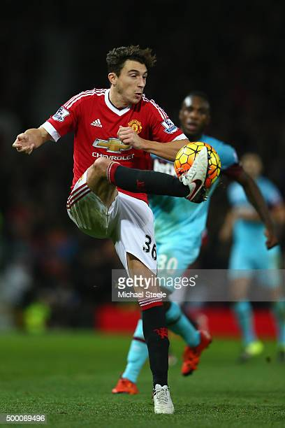Matteo Darmian of Manchester United during the Barclays Premier League match between Manchester United and West Ham United at Old Trafford on...
