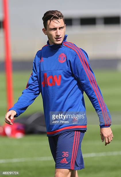Matteo Darmian of Manchester United in action during a first team training session at Aon Training Complex on August 5 2015 in Manchester England