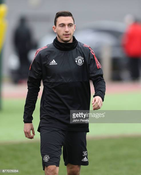 Matteo Darmian of Manchester United in action during a first team training session at Aon Training Complex on November 21 2017 in Manchester England