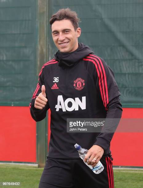 Matteo Darmian of Manchester United in action during a first team training session at Aon Training Complex on July 13 2018 in Manchester England