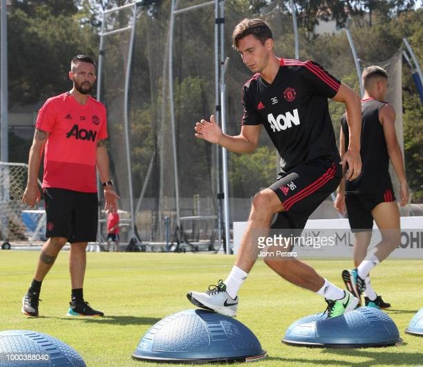Matteo Darmian of Manchester United in action during a Manchester United preseason training session at UCLA on July 16 2018 in Los Angeles California