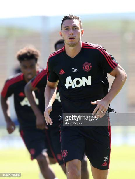 Matteo Darmian of Manchester United in action during a Manchester United preseason training session at UCLA on July 20 2018 in Los Angeles California