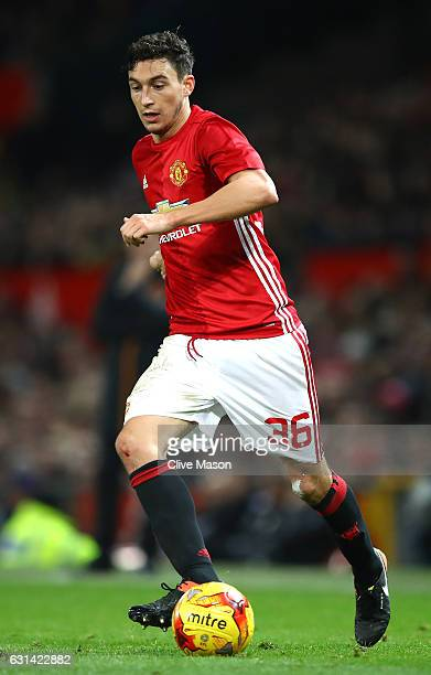 Matteo Darmian of Manchester United in action during the EFL Cup SemiFinal First Leg match between Manchester United and Hull City at Old Trafford on...