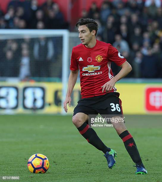 Matteo Darmian of Manchester United in action during the Premier League match between Swansea City and Manchester United at the Liberty Stadium on...