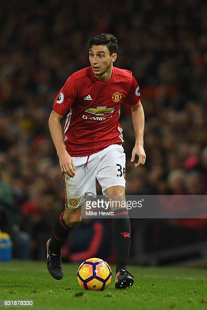 Matteo Darmian of Manchester United in action during the Premier League match between Manchester United and Liverpool at Old Trafford on January 15...