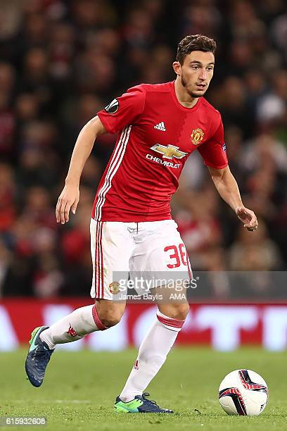 Matteo Darmian of Manchester United in action during the UEFA Europa League match between Manchester United FC and Fenerbahce SK at Old Trafford on...