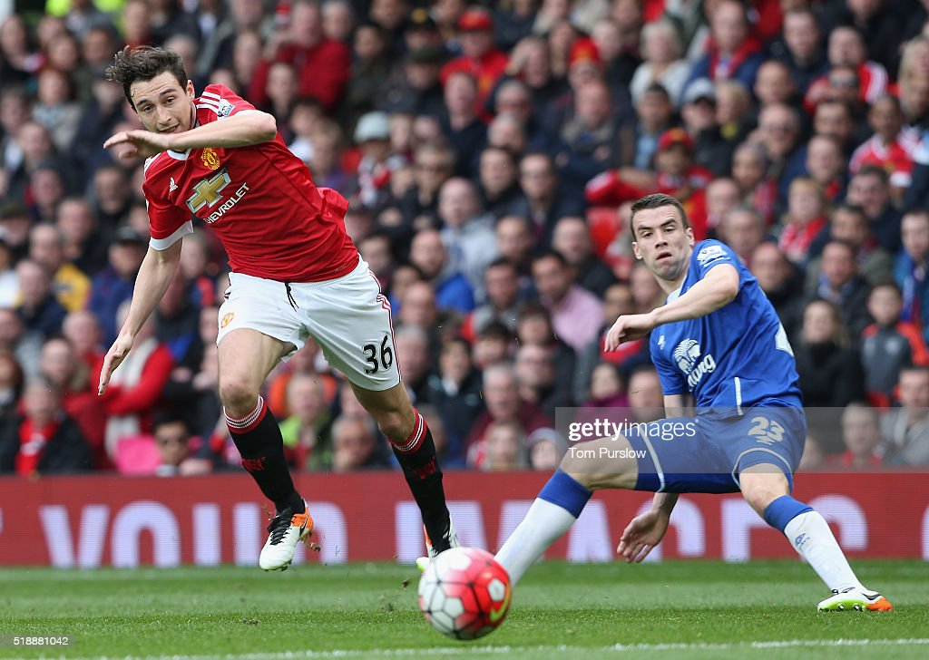 Matteo Darmian of Manchester United in action with Seamus Coleman of Everton during the Barclays Premier League match between Manchester United and Everton at Old Trafford on April 3, 2016 in Manchester, England.