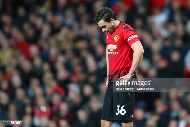 Matteo Darmian of Manchester United looks dejected during the Premier League match between Manchester United and Manchester City at Old Trafford on...