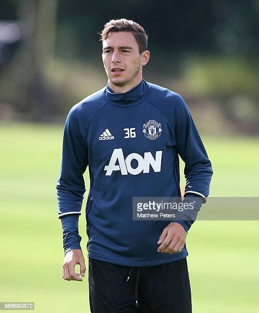 Matteo Darmian of Manchester United looks on during a first team training session at Aon Training Complex on August 12 2016 in Manchester England