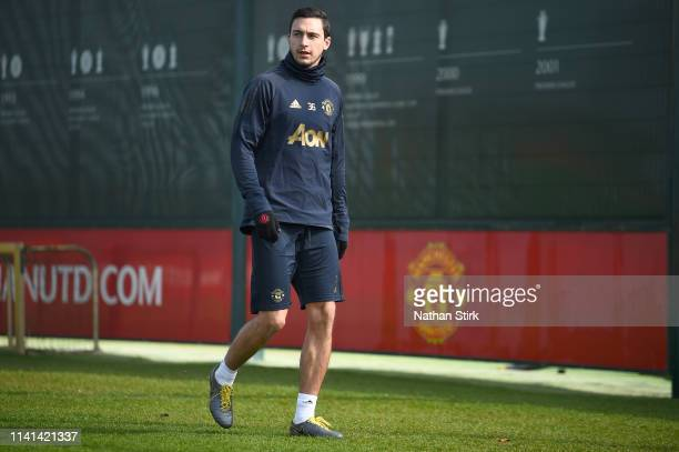 Matteo Darmian of Manchester United looks on during the Manchester United training session ahead of the UEFA Champions League Quarter Final First Leg...