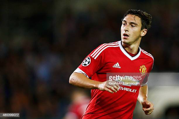 Matteo Darmian of Manchester United looks on during the UEFA Champions League qualifying round play off 2nd leg match between Club Brugge and...