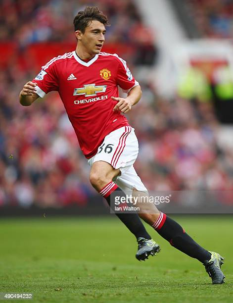 Matteo Darmian of Manchester United on the ball during the Barclays Premier League match between Manchester United and Sunderland at Old Trafford on...