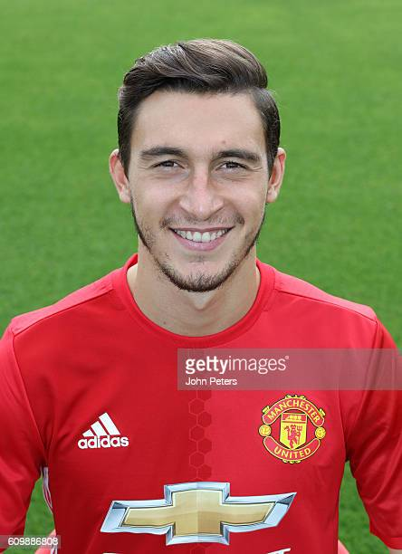 Matteo Darmian of Manchester United poses for a portrait at the Manchester United Official Photocall on September 19 2016 in Manchester England