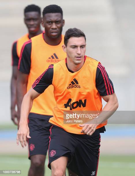 Matteo Darmian of Manchester United takes part in a first team training session as part of their preseason tour of the USA at UCLA on July 17 2018 in...