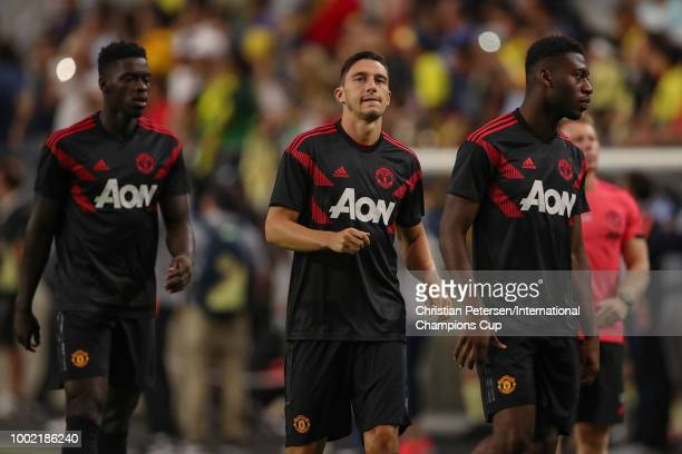 Matteo Darmian of Manchester United warms up with teammates prior to the International Champions Cup game against the Club America at the University...