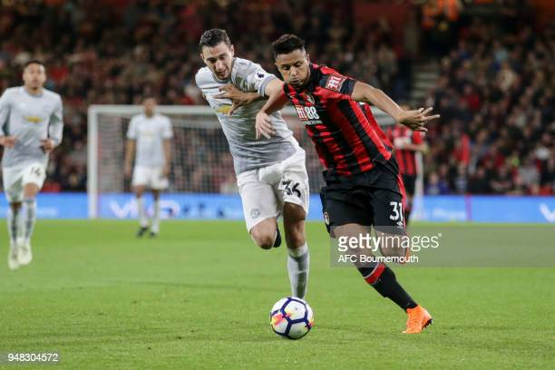 Matteo Darmian of Manchester Utd and Lys Mousset of Bournemouth during the Premier League match between AFC Bournemouth and Manchester United at...