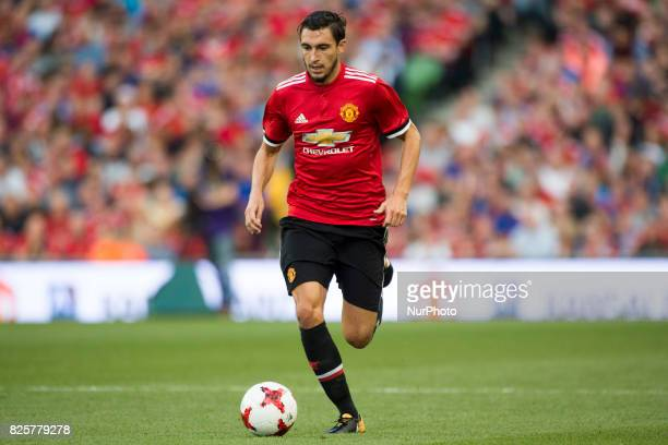 Matteo Darmian of Manchester Utd runs with the ball during the PreSeason Friendly match between Manchester United and Sampdoria at Aviva Stadium in...