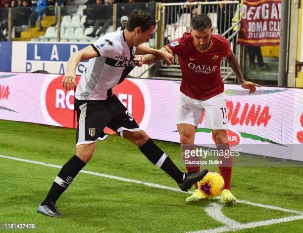 Matteo Darmian of Parma Calcio and Aleksandar Kolarov of AS Roma in action during the Serie A match between Parma Calcio and AS Roma at Stadio Ennio...