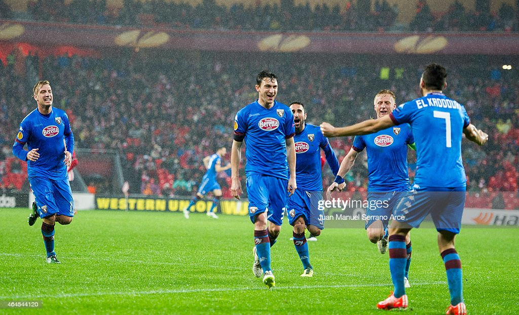 Matteo Darmian (C) of Torino FC celebrates after scoring during the UEFA Europa League Round of 32 match between Athletic Club and Torino FC at San Mames Stadium on February 26, 2015 in Bilbao, Spain.