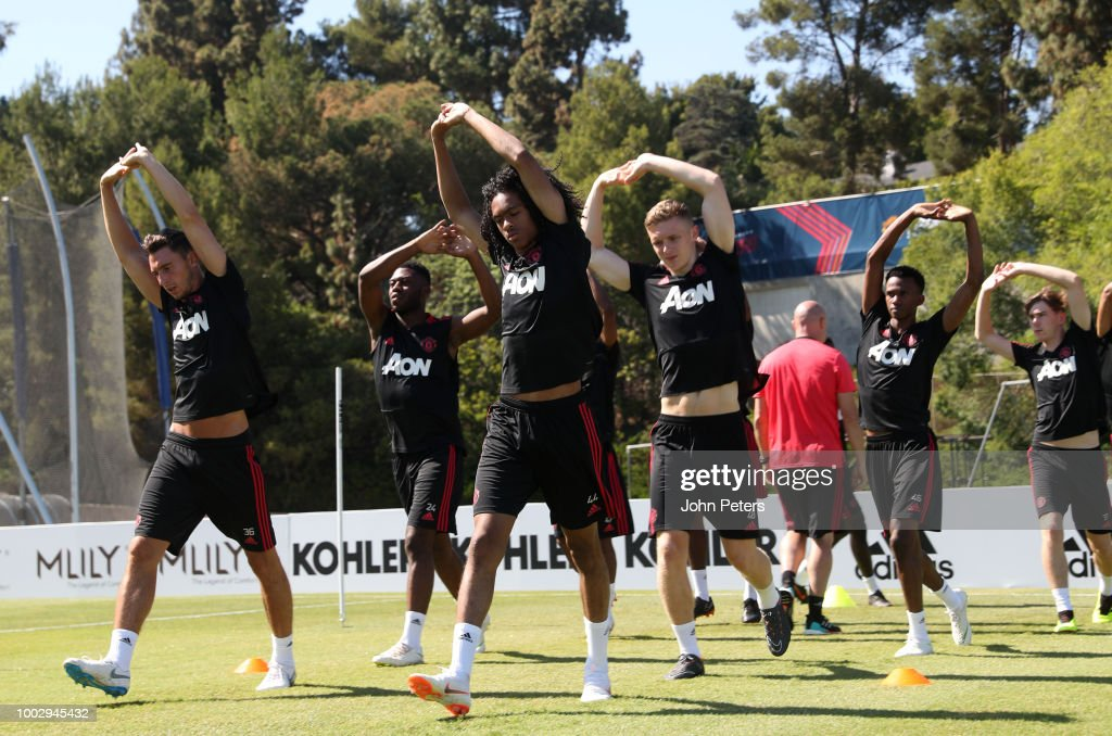 Matteo Darmian (L), Tahith Chong and Ethan Hamilton (R) of Manchester United in action during a Manchester United pre-season training session at UCLA on July 20, 2018 in Los Angeles, California.