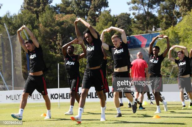 Matteo Darmian Tahith Chong and Ethan Hamilton of Manchester United in action during a Manchester United preseason training session at UCLA on July...
