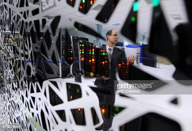 Matteo Dell'Acqua deputy director of the information system at MeteoFrance the French national meteorological service poses near the organisation's...