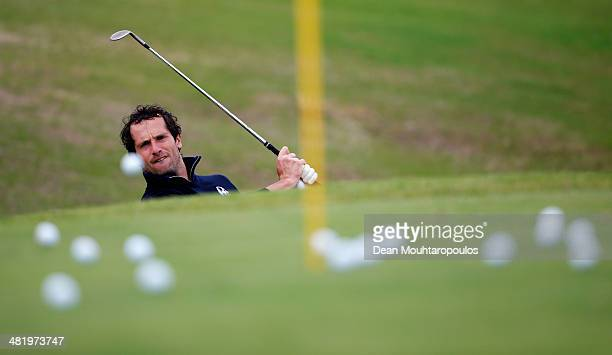 Matteo Delpodio of Italy hits a practice shot on the chipping green prior to the ProAm for the NH Collection Open held at La Reserva de Sotogrande...