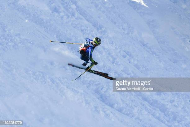Matteo Eydallin in action on the downhill section during Italian Team Ski Mountaineering Championships on February 14, 2021 in ALBOSAGGIA, Italy.