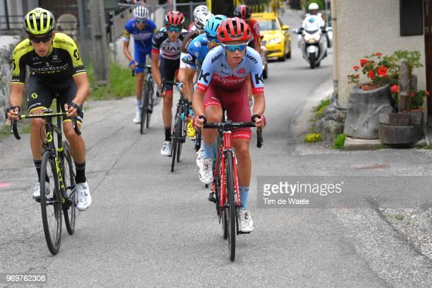 Matteo Fabbro of Italy and Team Katusha Alpecin / Carlos Verona of Spain and Team MitcheltonScott / Dario Cataldo of Italy and Astana Pro Team Polka...