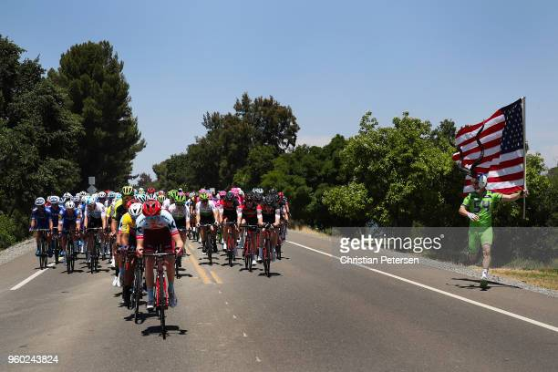 Matteo Fabbro of Italy riding for Team Katusha Alpecin leads the peloton during stage seven of the 13th Amgen Tour of California, a 143km stage in...