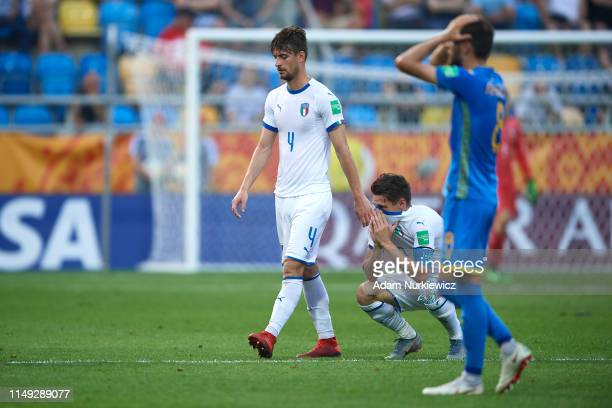 Matteo Gabbia and Andrea Pinamonti of of Italy U20 react as they wait for VAR revision of their team's equalizer during the 2019 FIFA U20 World Cup...