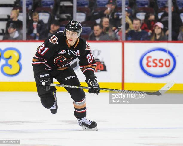 Matteo Gennaro of the Calgary Hitmen in action against the Lethbridge Hurricanes during a WHL game at the Scotiabank Saddledome on October 15, 2017...